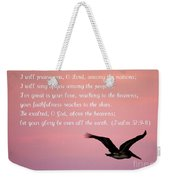 Psalm With Pelican And Pink Sky Weekender Tote Bag