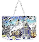 Psychedelic English Village Church In Winter Weekender Tote Bag