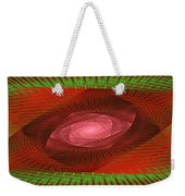 Psychedelic Spiral Vortex Green And Red Fractal Flame Weekender Tote Bag by Keith Webber Jr