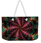 Psychedelic Spiral Vortex Purple Pink And Teal Fractal Flame Weekender Tote Bag