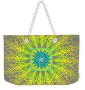 Psychedelic Spiral Vortex Yellow And Gray Fractal Flame Weekender Tote Bag