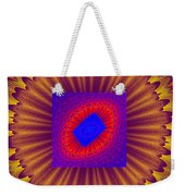Psychedelic Spiral Vortex Yellow Blue And Red Fractal Flame Weekender Tote Bag