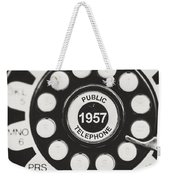 Public Telephone 1957 In Black And White Retro Weekender Tote Bag