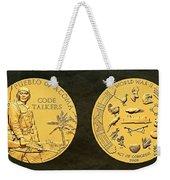 Pueblo Of Acoma Tribe Code Talkers Bronze Medal Art Weekender Tote Bag