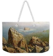 Puffins On Lundy Island Oil On Canvas Weekender Tote Bag