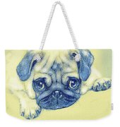 Pug Puppy Pastel Sketch Weekender Tote Bag