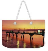 Puget Sound Olympic Mountains Fishing Pier Weekender Tote Bag