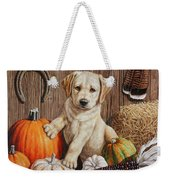 Pumpkin Puppy Weekender Tote Bag by Crista Forest