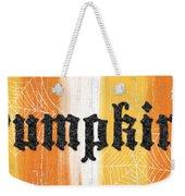 Pumpkins Sign Weekender Tote Bag by Linda Woods