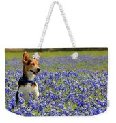 Pup In The Bluebonnets Weekender Tote Bag