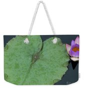 Puple Lily And Pad With Raindrops Weekender Tote Bag