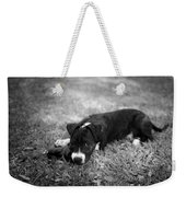 Puppy Eyes In Black And White Weekender Tote Bag