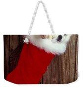 Puppy In Christmas Stocking Weekender Tote Bag