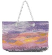 Purple And Gold November Sunset In West Michiganwatercolor Weekender Tote Bag