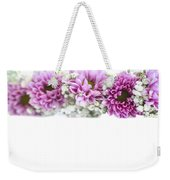 purple and mauve Flower frame on white  Weekender Tote Bag