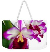 Purple And White Cattleyas Against White Space Weekender Tote Bag