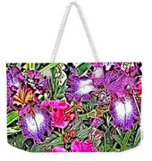 Purple And White Irises And Pink Flowers Weekender Tote Bag