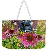 Purple Coneflowers By Former Railroad Depot In Pipestone-minnesota Weekender Tote Bag