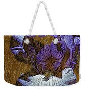 Purple Iris Gold Leaf Weekender Tote Bag