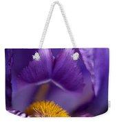 Purple Iris Macro Textured 1 Weekender Tote Bag