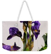 Purple Iris Stalk Weekender Tote Bag