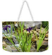 Purple Irises Growing In Waterfall Weekender Tote Bag