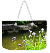 Purple Irises In Pond Weekender Tote Bag by Elena Elisseeva