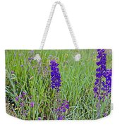 Purple Larkspur In A Meadow In Yellowstone National Park-wyoming Weekender Tote Bag