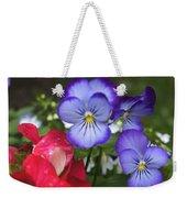Purple Pansy Flowers By Line Gagne Weekender Tote Bag