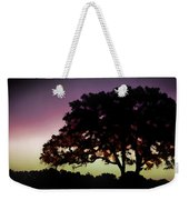 Purple Sunset Green Flash And Oak Tree Silhouette Weekender Tote Bag