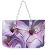 Purple Swirl Abstract Gladiolas  Weekender Tote Bag by Jennie Marie Schell