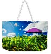 Purple Umbrella In A Field Of Corn Weekender Tote Bag