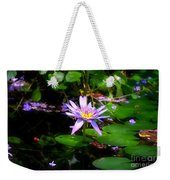 Purple Water Lilly Weekender Tote Bag