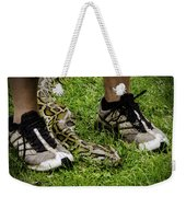 Python Snake In The Grass And Running Shoes Weekender Tote Bag