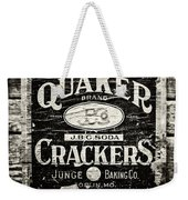 Quaker Crackers Rustic Sign For Kitchen In Black And White Weekender Tote Bag by Lisa Russo