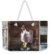 Quiet Rooster Wood Carved Weekender Tote Bag