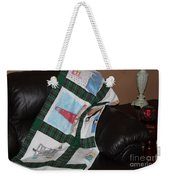 Quilt Newfoundland Tartan Green Posts Weekender Tote Bag by Barbara Griffin