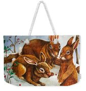 Rabbits In Snow Weekender Tote Bag