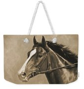 Racehorse Painting In Sepia Weekender Tote Bag