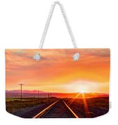 Rails To The Red Sky Weekender Tote Bag