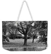 Rain And Leaf Ave In Black And White Weekender Tote Bag