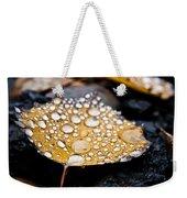 Rain Drops On Autumn Birch Leaf Weekender Tote Bag