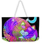 Rainbow Cat Blue Moon Weekender Tote Bag