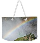 Rainbow From Spray Of Lower Yellowstone Falls Against Yellowstone Canyon Wall-wyoming  Weekender Tote Bag