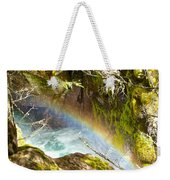 Rainbow In Avalanche Creek Canyon In Glacier National Park-montana Weekender Tote Bag