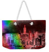 Rainbow On Chicago Mixed Media Textured Weekender Tote Bag