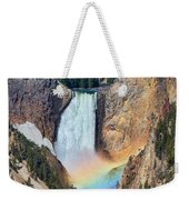 Rainbow On The Lower Falls Yellowstone National Park Weekender Tote Bag