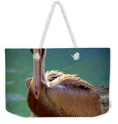 Rainbow Pelican Weekender Tote Bag by Karen Wiles