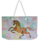 Rainbow Unicorn In My Garden Original Watercolor Painting Weekender Tote Bag