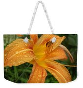Raindrops On Golden Lily Weekender Tote Bag